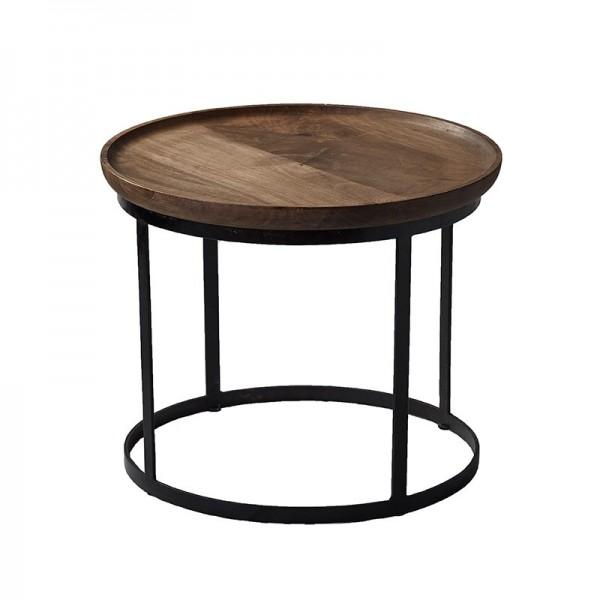 Inteligentny Stolik kawowy, okrągły, podstawa metalowa, blat drewniany, kinihome MR74