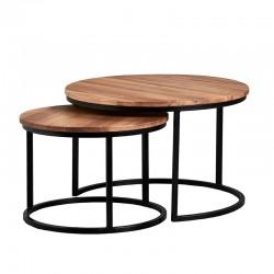 komplet stolików kawowych drewnianych dębowych