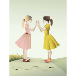 Hand-clapping girls plakat